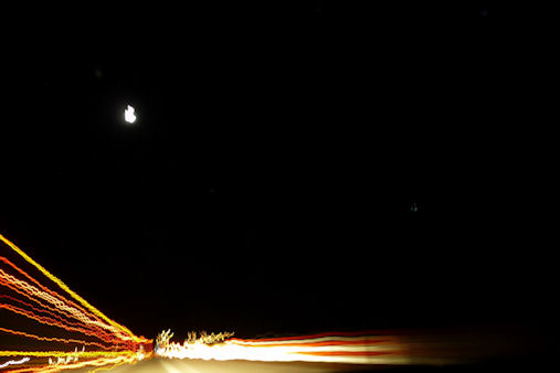 Night Driving under the Moon